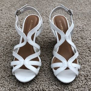 Le Chateau Wedge Heels Cork Faux White Leather 6.5